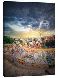 Canvas-taulu  The famous park Guell in Barcelona