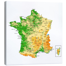 Canvas-taulu  Map of France