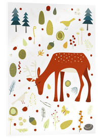 Akryylilasitaulu  Pretty deer in the autumn forest - Nic Squirrell