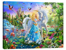 Canvas-taulu  The Princess, the unicorn and the castle - Adrian Chesterman