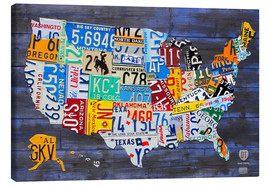 Canvas-taulu  License plate map of the USA - Design Turnpike