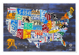 Juliste  License plate map of the USA - Design Turnpike
