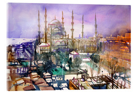 Akryylilasitaulu  Istanbul, view to the blue mosque - Johann Pickl