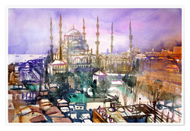 Juliste Istanbul, view to the blue mosque