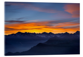 Akryylilasitaulu  Colorful sky at sunset over the Alps - Fabio Lamanna