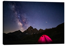 Canvas-taulu  Glowing camping tent under starry sky on the Alps - Fabio Lamanna