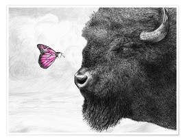Juliste Bison And Butterfly