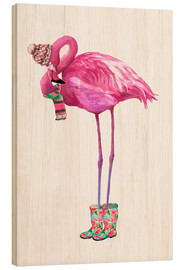 Puutaulu  Pink flamingo with rubber boots - Kidz Collection