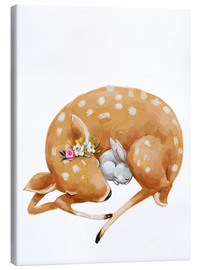 Canvas-taulu  Fawn and baby bunny - Eve Farb