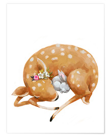Juliste Fawn and baby bunny