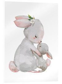 Akryylilasitaulu  Sweet white bunnies - mother with child - Eve Farb
