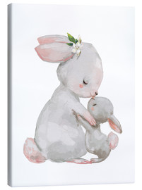 Canvas-taulu  Sweet white bunnies - mother with child - Kidz Collection