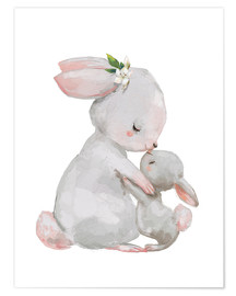Juliste Sweet white bunnies - mother with child