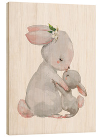 Puutaulu  Sweet white bunnies - mother with child - Kidz Collection