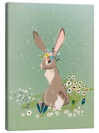 Canvas-taulu  Rabbit with wildflowers - Eve Farb