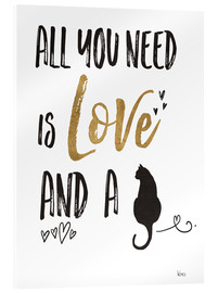 Akryylilasitaulu  All you need is love and a cat - Veronique Charron