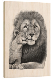 Puutaulu  Lion with lion cub - Valeriya Korenkova