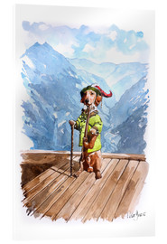 Akryylilasitaulu  Dachshund in the Alps - Peter Guest