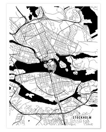 Juliste Stockholm Sweden Map