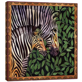 Canvas-taulu  Two zebras against leaves