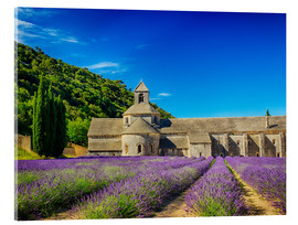 Akryylilasitaulu  Monastery with lavender field - Terry Eggers