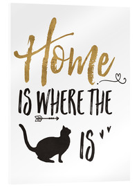 Akryylilasitaulu  Home is where the cat is - Veronique Charron