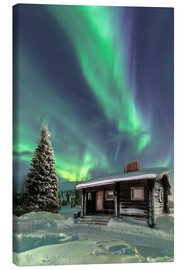Canvas-taulu  Northern Lights frame a wooden hat - Roberto Sysa Moiola