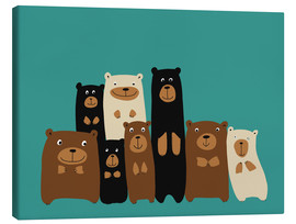 Canvas-taulu  Bear friends turquoise - Kidz Collection