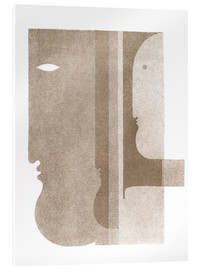 Akryylilasitaulu  Two profiles to the left, one to the right - Oskar Schlemmer