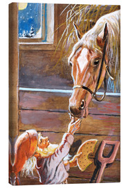 Canvas-taulu  Dwarf feeds the horse in the stable - Jenny Nyström