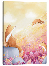 Canvas-taulu  Foxes and summer flowers - Rebecca Richards
