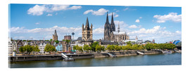 Akryylilasitaulu  Cologne Rheinufer with cathedral and town hall - Jan Christopher Becke