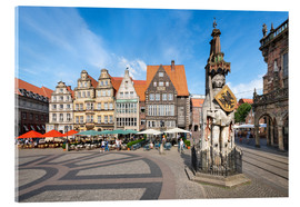 Akryylilasitaulu  Historic Market Square in Bremen with Roland Statue - Jan Christopher Becke