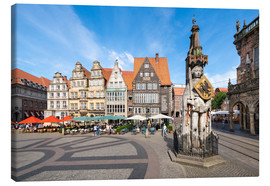 Canvas-taulu  Historic Market Square in Bremen with Roland Statue - Jan Christopher Becke