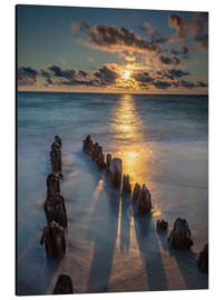 Alumiinitaulu  Groyne on Sylt with sunset - Heiko Mundel