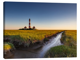 Canvas-taulu  Lighthouse Westerhever in the evening light - Heiko Mundel