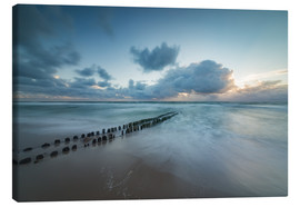 Canvas-taulu  Groyne in the evening on Sylt (long exposure) - Heiko Mundel