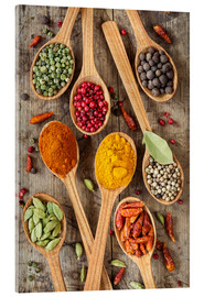 Akryylilasitaulu  Colorful spices in wooden spoons - Elena Schweitzer