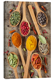 Canvas-taulu  Colorful spices in wooden spoons - Elena Schweitzer