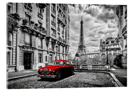 Akryylilasitaulu  Paris in black and white with red car - Art Couture