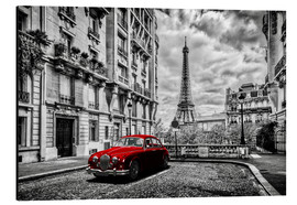 Alumiinitaulu  Paris in black and white with red car - Art Couture