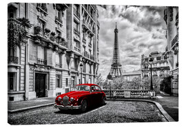 Canvas-taulu  Paris in black and white with red car - Art Couture
